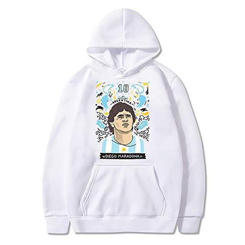 Maradona Sudadera con capucha con estampado 3D, ligera, unisex, diseño de la mano de Dios, Maradona, Diego Armando Maradona, color blanco, S