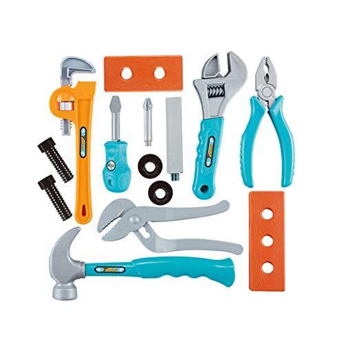 Bascar Simulations - Juego de 14 piezas de plástico para niños, herramientas de construcción, caja de reparación, aprendizaje pedagógico, regalo