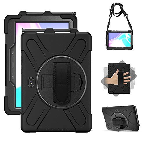 Samsung Galaxy Tab Active PRO 10.1 Case, Heavy Duty Rugged Shockproof Drop Protection Case with 360 Stand, Handle Hand Strap & Shoulder Strapfor Galaxy Tab Active PRO 10.1 SM-T540/T547 (Black)