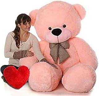 Shopify Soft Teddy with Heart 5 feet Pink Teddy Bear (152 cm) Extra Large Very Soft Lovable/Huggable Teddy Bear for Girlfr...