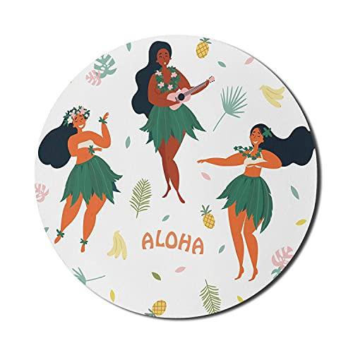 Ukulele Mouse Pad für Computer, 3 hawaiianische Mädchen tanzen und spielen Ukulele Gitarre Luau Party Sommer Aloha, Runde rutschfeste dicke Gummi Modern Gaming Mousepad, 8 'Runde, mehrfarbig