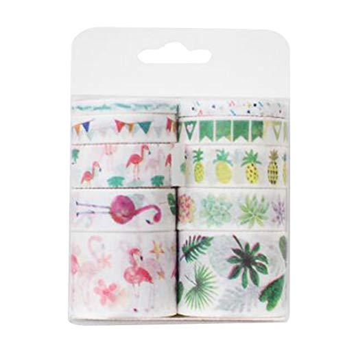 Washi Cintas de enmascarar 10pcs Paquete de pegatinas de dibujos animados cintas de papel adhesivas decorativas para Scrapbook DIY diario envoltura de regalos (flamenco)