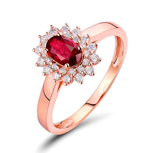 AnazoZ Anillo de Rubi Mujer,Anillos de Oro Rosa Mujer 18 Kilates Oro Rosa y Rojo Oval Flor Rubí Rojo 0.6ct Diamante 0.3ct Talla 16