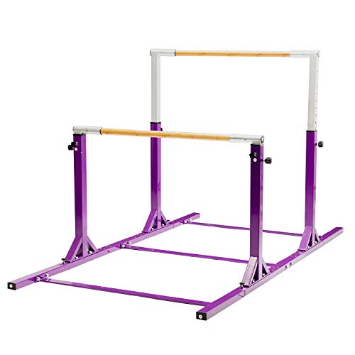 walsport Purple Horizontal Bar Parallel Bars Gymnastics Junior Training Adjustable 3' to 5'  Heights Indoors Outdoors Home Children Practice Gym Kip Balance Bar