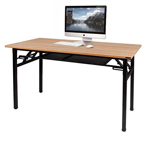Need Schreibtisch Computertisch Arbeitstisch Bürotisch Holz, tragbar Konferenztisch Esstisch Klapptisch mit Gittertrennwand zur Lagrung 120x60CM