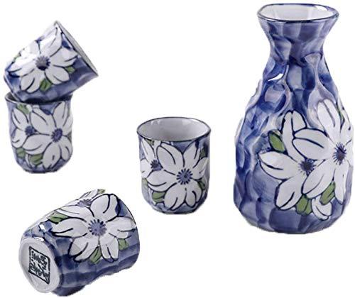 LCJD Juego de 5 Piezas de Sake japonés, Juego de Tazas de Sake de cerámica, Flor de Pintura a Mano bajo vidriado, para frío/Calor/Shochu/té, Familiares y Amigos