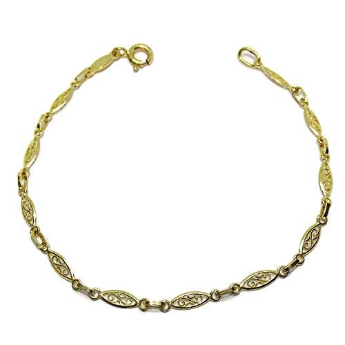Pulsera de Oro Amarillo de 18k Estilo Filigrana para Mujer de 18.50cm de Larga y 4mm de Ancha Peso; 2.90gr de Oro de 18k.