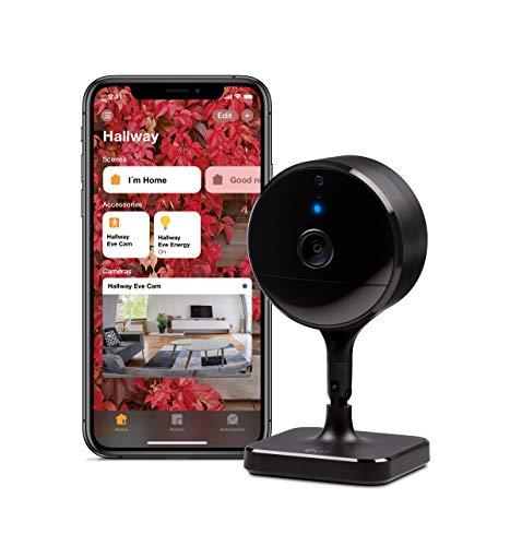 Eve Cam – Videocamera sicura per interni, privacy al 100%, funzione di Video sicuro di HomeKit, notifiche su iPhone/iPad/Apple Watch, sensore di movimento, microfono e altoparlante