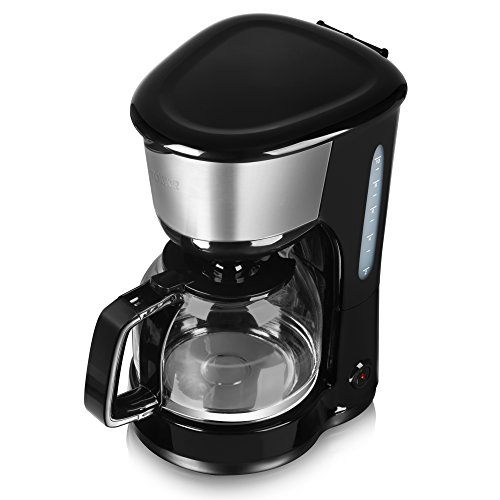 Tower 10 Cup Coffee Maker, Anti-Drip Feature, Stainless Steel, 1000 W, 1.25 Litre, Black