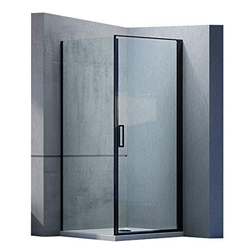 Duschabtrennung EX416S-Kombi Schwarzer Rahmen 6mm ESG-Glas Nano Drehtür Hebe-Senk-Funktion, Maße Duschkabine:100x100cm, Duschtasse:Ohne Duschtasse