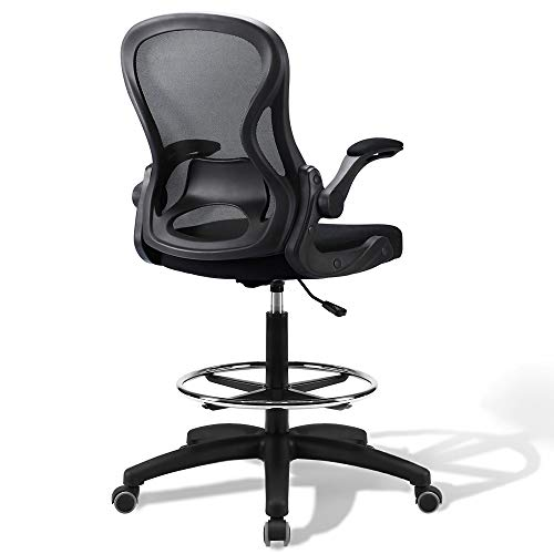 US Stock Ergonomic Drafting Chair, Tall Desk Chair with Arms, Drafting Stool with Mid Mesh Back, High Chair for Standing Desk, Height Adjustable Office Chairs with Foot Rest (Black)