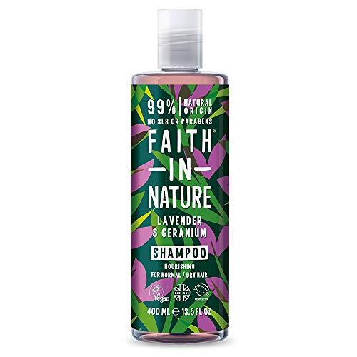 Faith in Nature Natürliches Lavendel & Geranie Shampoo, Kräftigend, Vegan & Ohne Tierversuche, Frei von Parabenen und SLS, für Normales bis Trockenes Haar, 400 ml