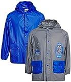 Lilly of New York Baby Boys' Rain Coat - Hooded Rain Slicker Shell (2 Pack), Size 6, Robot/Blue