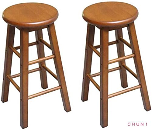 Solid Wood Bar Stool, Round Dining Stool Home Kitchen Leisure Stool Easy to Assemble 60cm High (Pack-2) 105 (Size : Brown Color)