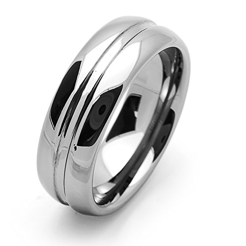 Pequeños Tesoros - 8MM Carburo De Tungsteno - Anillo De Matrimonio Hombres Mujeres Libre de Cobalto