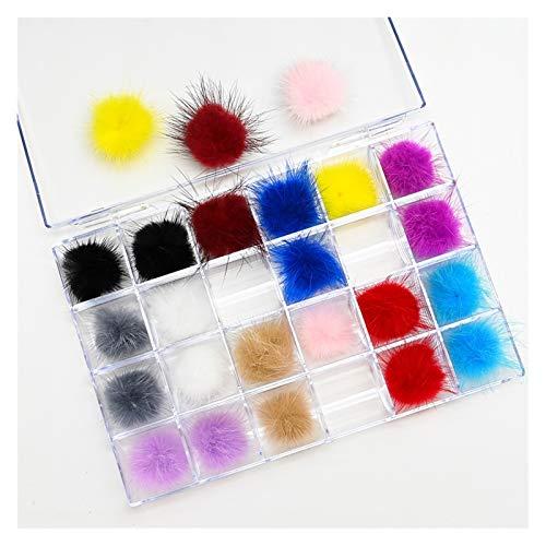 LABGU TECHNOLOGY 24 PCS Nail Pom Pom Fluffy Llush Ball Clavo 3D Pom Suave, Moda Metálico Falso Nail Tips Decoración de Arte de Las uñas de Las Mujeres (Color Mixto)