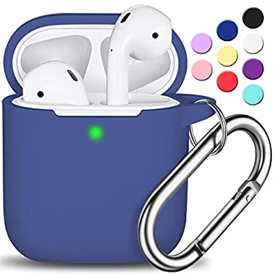AirPods Case Cover with Keychain, Full Protective Silicone AirPods Accessories Skin Cover for Women Girl with Apple AirPods Wireless Charging Case,Front LED Visible-Royal Blue