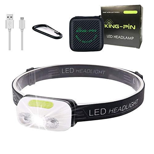 King-Pin KP-1 Recargable por USB, Resistente al Agua, Ligera, 7 Modos de iluminación, Perfecta, Correr, Camping, Ciclismo (Linterna Frontal LED, Sensor de inducción, luz Blanca)