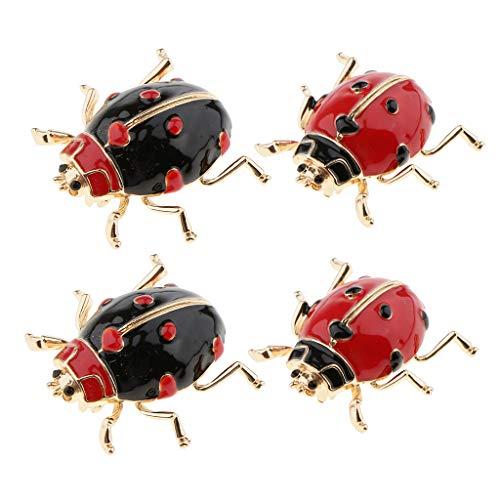 P Prettyia 4 Unids Esmalte Insecto Mariquita Broche Pin Metal Ladybird Bufanda Collar Pins Joyería De La Insignia