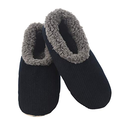 Snoozies Mens Corduroy Slippers Slippers for Men   Mens House Slippers   Fuzzy Slippers with Soft Soles   Navy   Medium