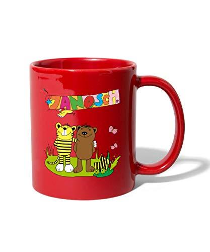 Janosch Tiger und Bär Freundschaft Tasse einfarbig, Rot