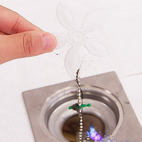 5PCS Forme de Fleur Chaîne de Nettoyage pour Siphon de Salle de Bain/Douche Tuyau de Drague Attrape et Enlève Les Cheveux