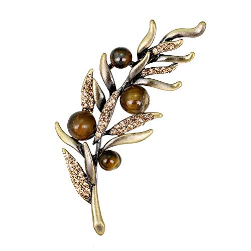 YAZILIND Vintage Rhinestone Leaf Brooch Pins Women Breastpin Corsage Girls Jewellery Gift(Colour 1)
