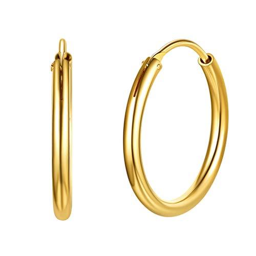Silvora 20mm Pendientes Aros Oro Pequeños Aros Chapado Oro Mujer Pedientes Chicos