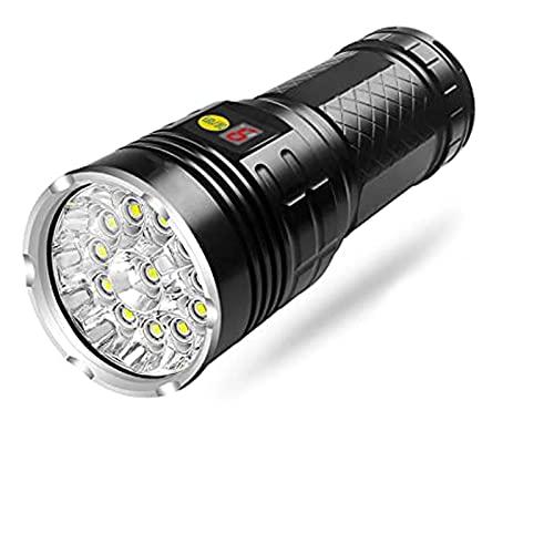 GQTYBZ Linterna de Buceo, Linterna Superbrillante de 5000 LúMenes para Iluminación Interior y Exterior, Antorchas de Camping de Alta Potencia con 4 Modos de Iluminación, Pantalla de Alimentación