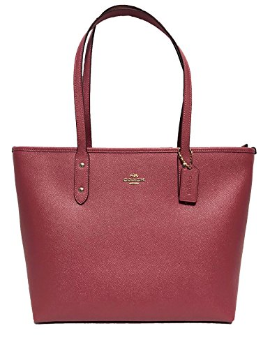 COACH A Crossgrain City Zip Tote w/PVC Bottom Rouge One Size