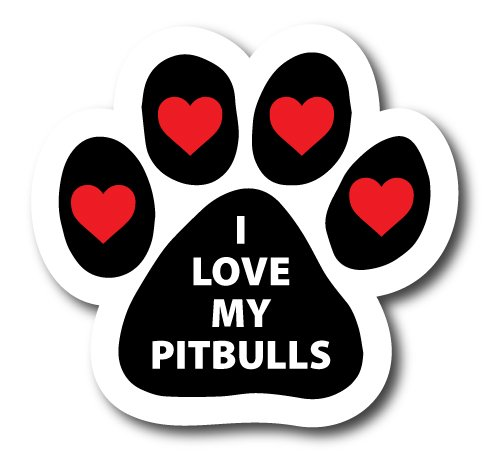 Magnet Me Up I Love My Pitbulls Pawprint Car Magnet Paw Print Auto Truck Decal Magnet