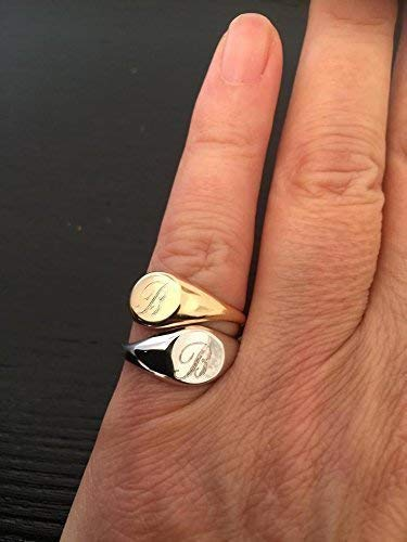 Engraved Signet ring, Personalized Your Pinky with yout Initial, sterling Silver/Gold plated, Unisex Seal Ring, Sizes UK D-Z