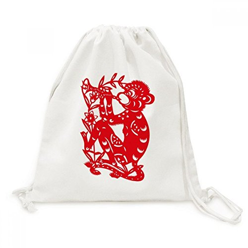 DIYthinker Papercut Zodiac Affe China-Blumen-Leinwand-Rucksack-Reisen Shopping Bags