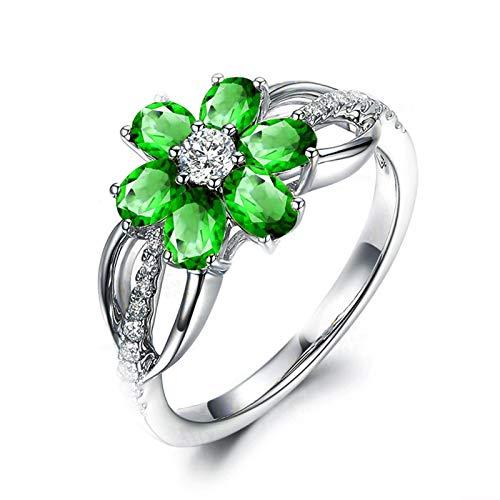 Adokiss Mujer no-metal-stamp (Fashion only) plata ovalada verde Circonita cúbica.