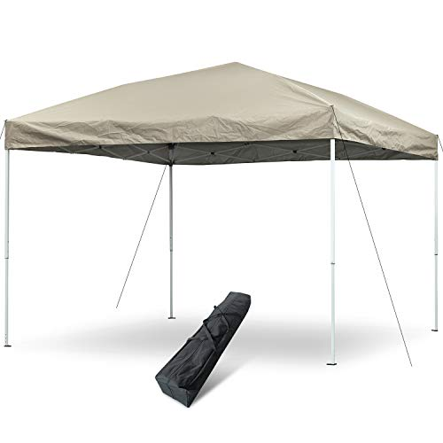 Outdoor Canopy Tent, 10 x 10 Pop Up Canopy Tent Commercial Instant Shelter Portable Folding Canopy with Carry Bag (Beige)
