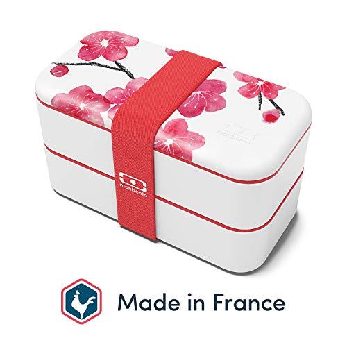 monbento - MB Original Graphic Blossom rot/rosa/weiß Bento Box Made in France - Brotdose mit 2 Fächer - Lunch Box perfekt für Büro/MEA