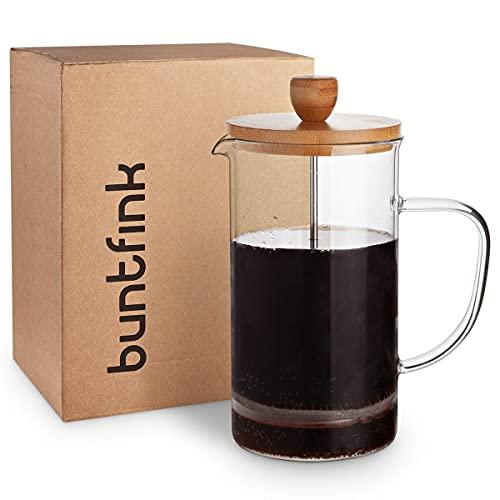 """buntfink®""""FrenchPress"""" Tee- und Kaffeebereiter mit Frech Press System, aus Edelstahl, Bambus und Borosilikatglas, für 1 Liter Tee oder Kaffee, mit 2 extra Filtern, Größe: 1l"""
