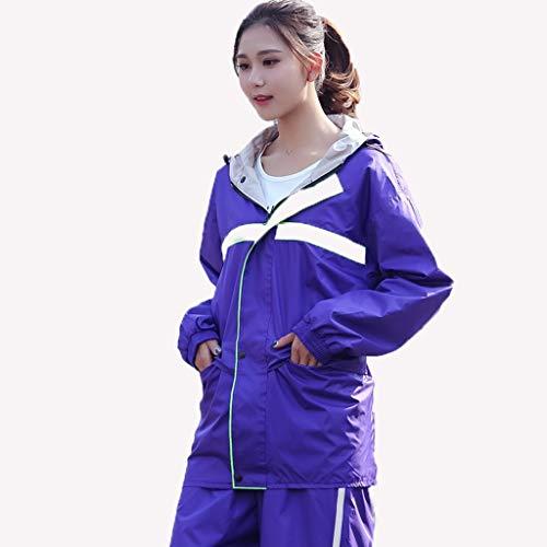 LSLS Raincoat Ms. Adult Raincoat Raincoat Outdoor Raincoat Rain Pants Suit Split Raincoat Thick Camouflage Hiking Trip Riding Raincoat Belt Pocket Rain Poncho (Color : B, Size : X-Large)