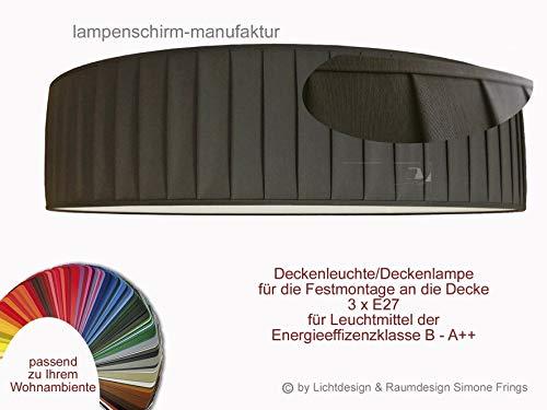 Deckenleuchte Plissee Lampenschirm 50 cm Durchmesser Taupe Grau Rot Gelb Grün Pink Pastell oder viele andere Farben 3 x E27 Diffuser Blendschutz