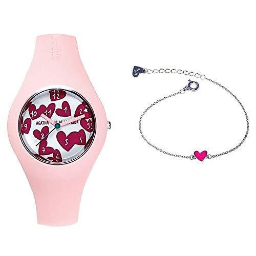 Juego Agatha Ruiz de la Prada reloj AGR222 pulsera plata Ley 925m pulsera 14cm. corazón rosa - Modelo: AGR222