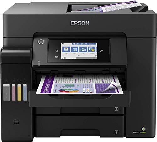 Epson EcoTank ET-5850 4-in-1 Tinten-Multifunktionsgerät (Kopie, Scan, Druck, Fax, A4, ADF, Full-Duplex, WiFi, Ethernet, Display, USB 2.0), großer Tintentank, hohe Reichweite, niedrige Seitenkosten