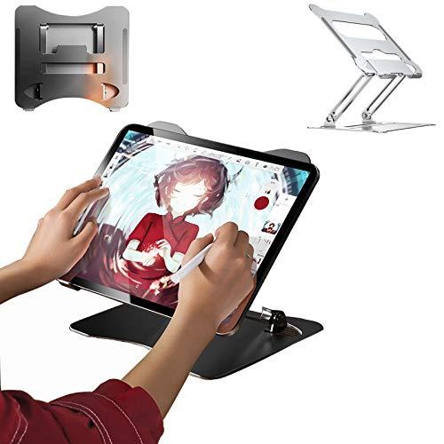 Soporte para Computadora Portátil para Tabletas Ángulo De Altura Ajustable Soporte Vertical para Portátil Ventilado Soporte para Computadora De Aleación De Aluminio Plata + Negro