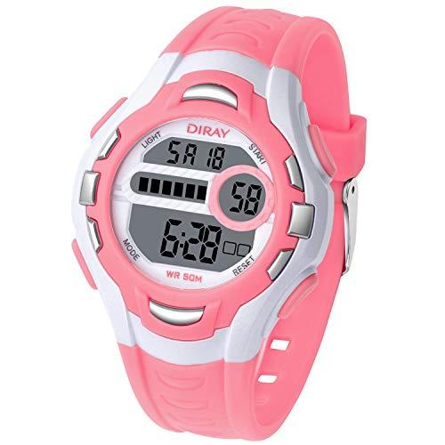 Kinderuhr Jungen Mädchen 50M wasserdichte Digitaluhr Sport Multifunktions Armbanduhr für Kinder mit Alarm (Rosa)