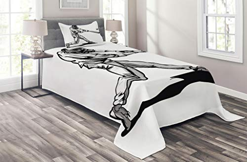 Lunarable Sports Coverlet Set Twin Size, Baseball Player Hitter Swinging at a Fast Pitch Athlete Sportsman Hand Drawn, 2 Piece Decorative Quilted Bedspread Set with 1 Pillow Sham, White Dark Grey