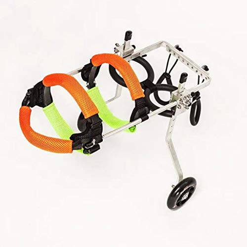 M-YN Hunderollstuhl, Hund Rollstuhl, Haustier Reha-Training Auto, Verstellbare Edelstahl Wagen Pet/Hund Katze Rollstuhl Hinterbein Rehabilitation for Behinderte, 2-Rad (Size : XS)