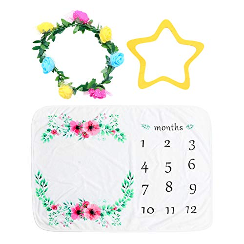Toddmomy Baby Monthly Milestone Blanket with Flower Headband Newborn Monthly Blanket Set for Infant Baby Shower Photography Christmas Stocking Stuffers Gift