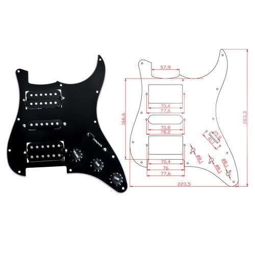 1pc 3-ply 11 Holes HSH Black Wired Plate Loaded Pickguard for Fender Strat Guitar Replacement