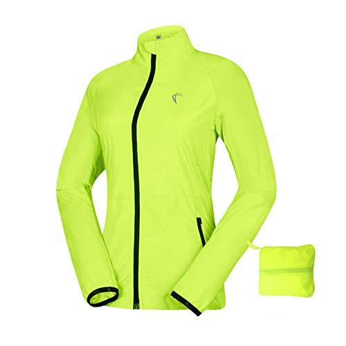 Women\'s Packable Windbreaker Jacket, Lightweight and Waterproof, Outdoor Active Cycling Running Skin Coat, Yellow M