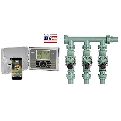 Orbit 57946 B-hyve Smart Indoor/Outdoor 6-Station WiFi Sprinkler System Controller & 57253 3-Valve Heavy Duty Preassembled Manifold