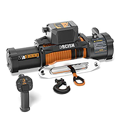 ORCISH New Upgrade WA Series 12V Electric Winch Synthetic Rope Winch Kits with Wireless Remote Control IP67 Waterproof Winch 13000lb Winch Load Capacity Fit for Jeep,SUV,Truck